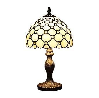AIFUDE 8 Zoll Retro Minimalist Tiffany Lampen Weies Glas Mit Perlen Handgefertigte Lampe Fur Bar Restaurant Schlafzimmer Amazonde Beleuchtung