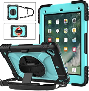 BMOUO iPad 6th Generation Case,iPad 5th Generation Case,iPad 9.7 Case,iPad Air 2 Case,3 Layer Shockproof [360 Swivel Stand][Hand Strap][Pencil Holder] Kids Case for iPad 9.7 inch 2018/2017,Sky Blue