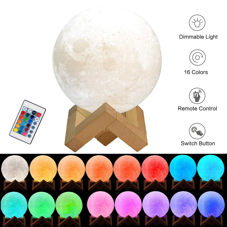 3D Mond Lampe USB LED Nachtlampe, FlexDin Weiß/Warmweiß 2 Farben Dimmbare Helligkeit und Touch Control Mondlicht Nachttischlampe Tischlampe Geschenk für Kinder Schlafzimmer mit Holzständer (12 CM)