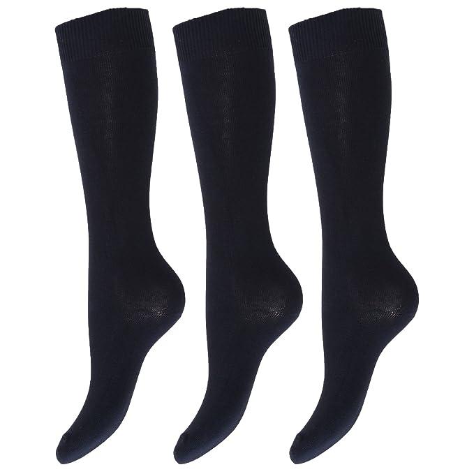 Calcetines lisos altos hasta la rodilla de uniforme de colegio para niños/niñas (pack