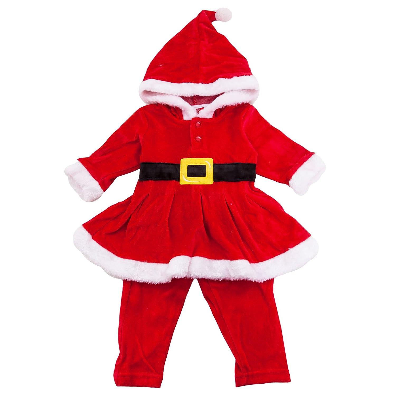 Toocool - Completo Bambina bimba vestitino cappuccio Babbo Natale pantaloni nuovo FC191