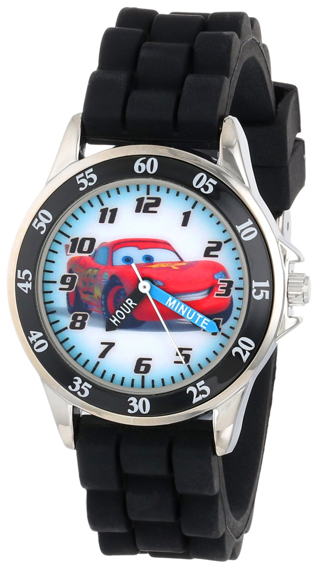 Disney Kid's Cars Watch, Learn How to Tell Time - Kid's Time Teacher Watch with Official Cars Character on The Dial, Childrens Watch with Black Rubber Strap, Kids Analog Watch, Safe for Children by Disney