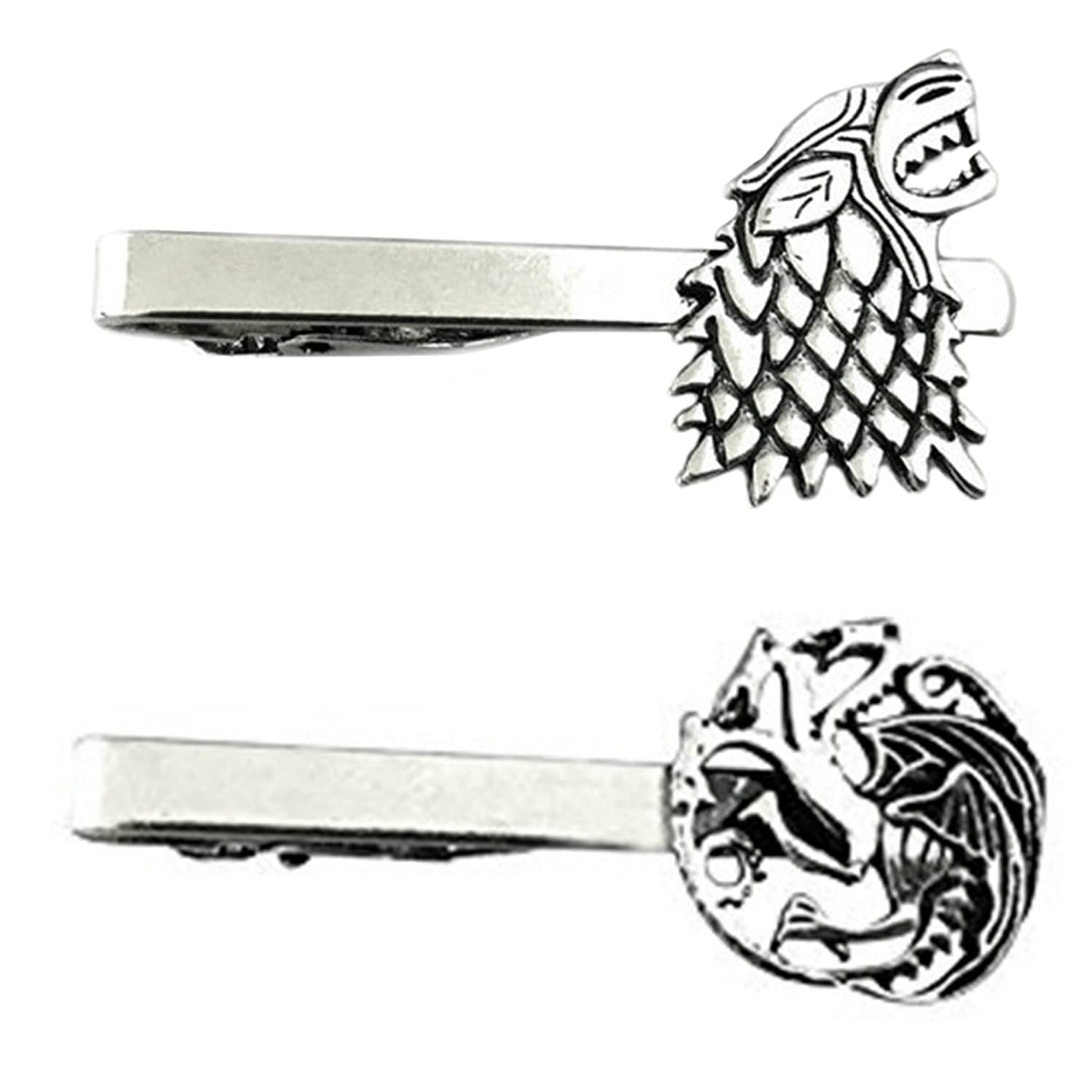 Outlander Game of Thrones - House Stark & House Targaryen - Tiebar Tie Clasp Set of 2 Wedding Superhero Logo w/Gift Box Outlander Brand
