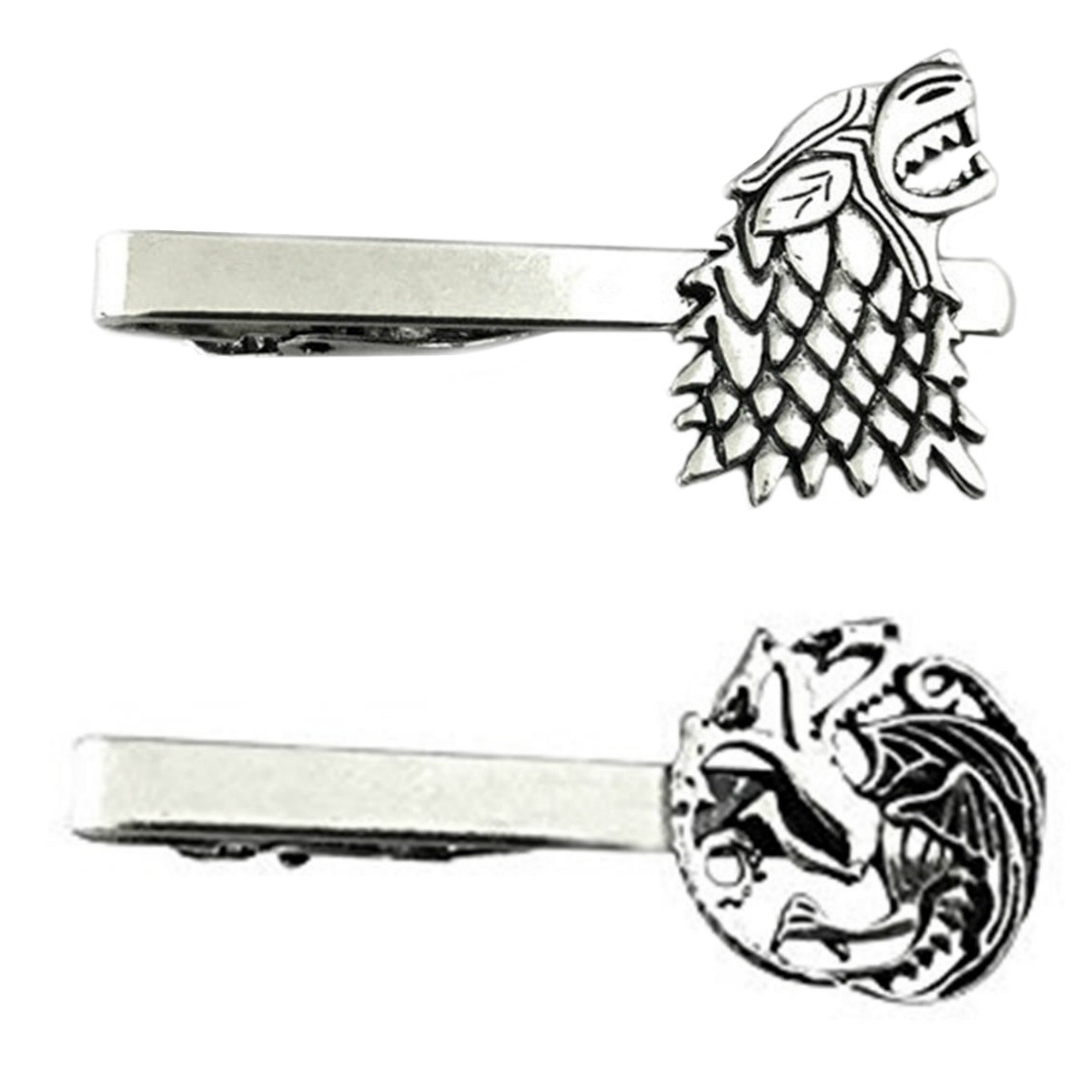 Outlander Game of Thrones - House Stark & House Targaryen - Tiebar Tie Clasp Set of 2 Wedding Superhero Logo w/Gift Box