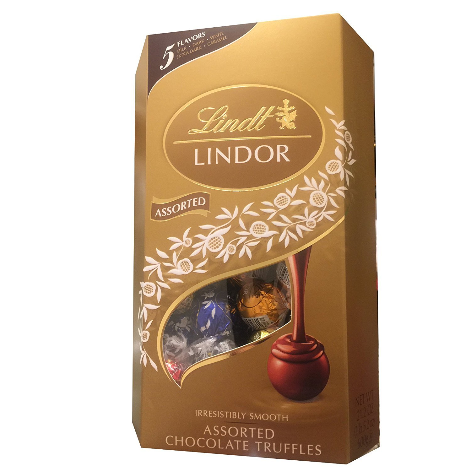 Lindt Lindor Assorted Chocolate Truffles Gift Box, 5 Flavors, 21.2 Ounces by Lindor