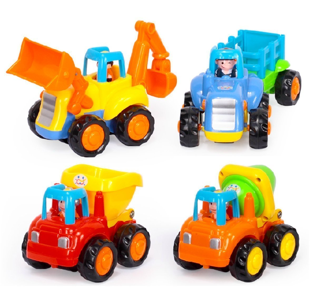 Berry President Set of 4 Early Educational Push and Go Friction Powered Car Tractor Bulldozer Mixer Truck and Dumper Toys for Toddler Baby Children Kids Boys Girls