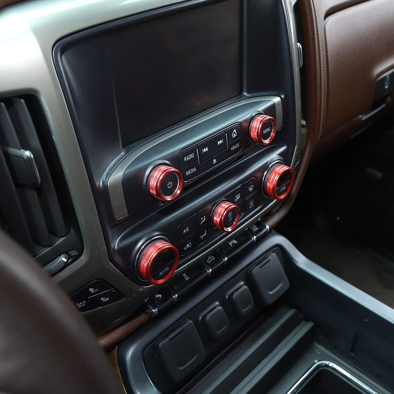 Voodonala for Silverado Radio AC Knobs Air Conditioner Switch Button for 2014-2018 Chevy Silverado Aluminum Alloy Red 8pcs