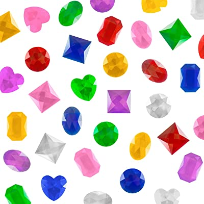 """1"""" Assorted Colorful Adhesive Stick-On Heart Star Round Shaped Jewel Gems for Arts & Crafts, Themed Party Decoration Accessories, Children Activities (100 Pack)"""