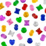 "1"" Assorted Colorful Adhesive Stick-On Heart Star Round Shaped Jewel Gems for Arts & Crafts, Themed Party Decoration Accessories, Children Activities (100 Pack) by Super Z Outlet"