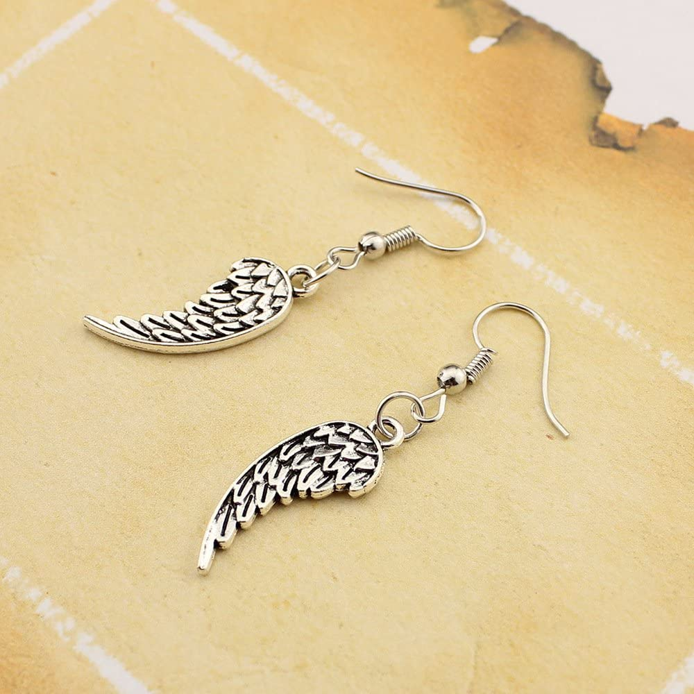 Antique Silver Plated Vintage Angel wings Feather Pendant Charm Womens Hook Dangle Drop Earrings