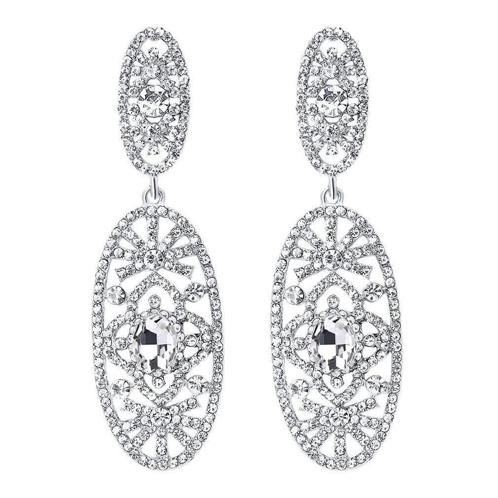 dfefc36b5f Moichien Women Drop Dangle Earrings Bling Silver Tone Teardrop Cubic  Zirconia Elegant Stud Earring Crystal Antique Party Jewelry  Jewelry