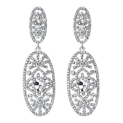 718375424d Amazon.com  Ai.Moichien Women Drop Dangle Earrings Bling Silver Tone ...