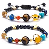 Measiy Women Solar System Bracelet Universe Galaxy The Eight Planets Guardian Star Natural Stone Beads Bracelet Bangle For Men