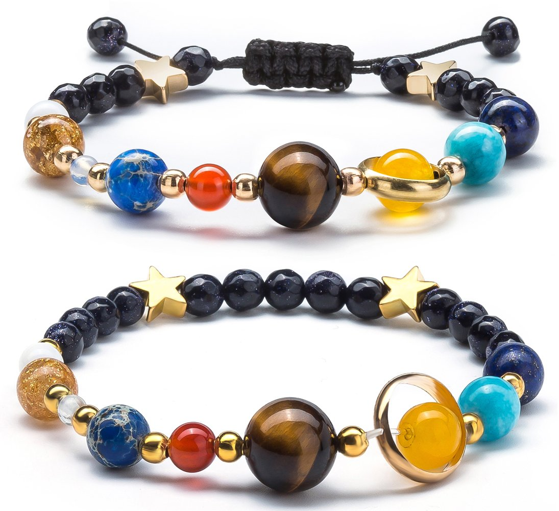 Fesciory Women Men Solar System Bracelet Universe Galaxy The Eight Planets Guardian Star Natural Stone Beads Bracelet Bangle For Girls(2 Pcs Set)