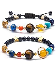 Fesciory Women Girls Solar System Bracelet Universe Galaxy The Eight Planets Guardian Star Natural Stone Beads Bracelet Bangle for Men