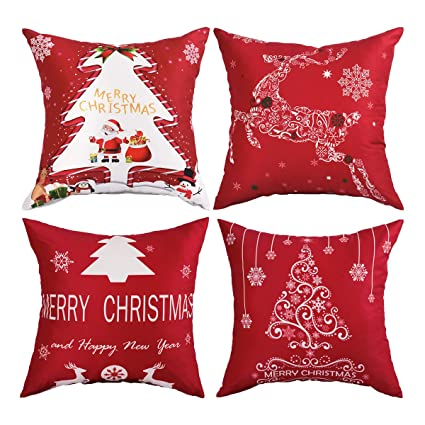 6885847bcb Amazon.com: BLEUM CADE Pack of 4 Merry Christmas Throw Pillow Covers ...