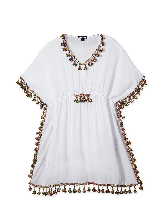 Stella Cove Big Girls White Multi Color Tassel Adorned Cover-Up Poncho 8-14
