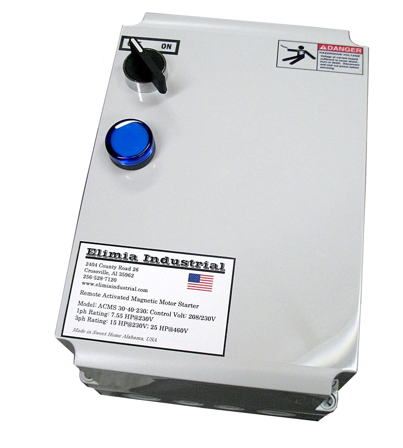 Elimia Air Compressor Motor Starter, 15 HP, 230V, Nema 4X, 37-50 Amp Overload, Made in USA