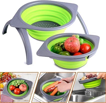 Goodking Colador colador plegable, escurridor para frutas y verduras, malla plegable que ahorra espacio con soportes duraderos, tina para platos para ...