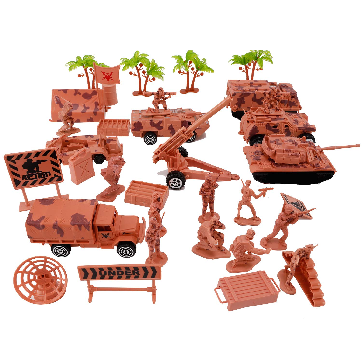 Liberty Imports Deluxe Action Figures Army Men Soldier Military Playset with Scaled Vehicles 73 pcs