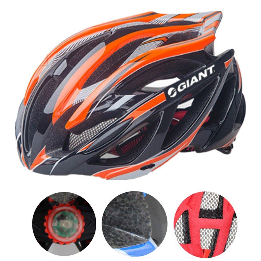 Bicicleta casco cm Xagoo con construido luz LED negro naranja