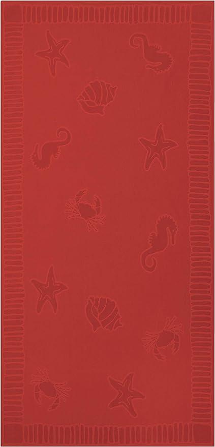 ZOLLNER Toalla de Playa Grande, 100x200 cm, algodón, roja: Amazon ...
