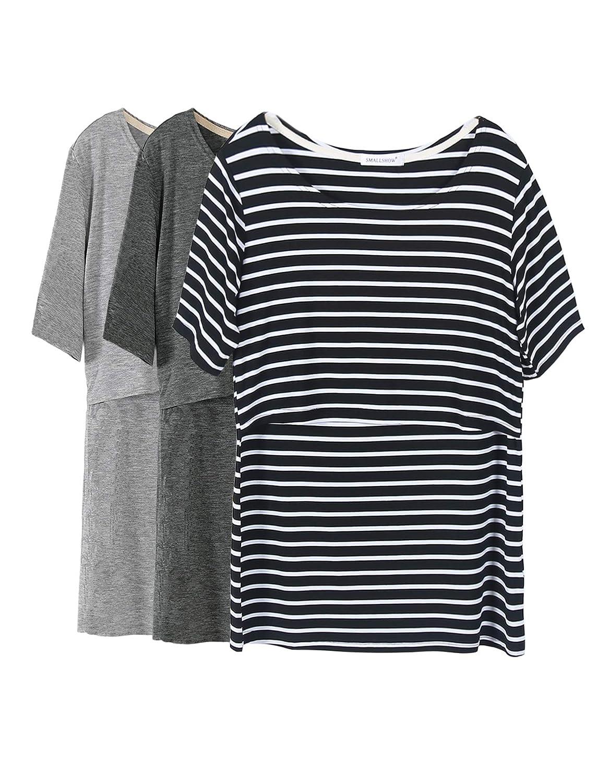 b7d4f517047 Smallshow Women's Maternity Nursing Tops Short Sleeve Breastfeeding Clothes  at Amazon Women's Clothing store: