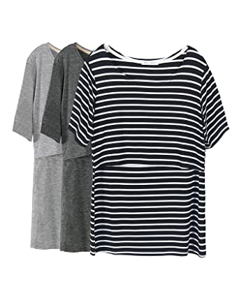 2b202e35e2b48 Smallshow 3 Pcs Maternity Nursing T-Shirt Nursing Tops Black Stripe-Dim  Grey-
