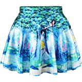 JIAYIQI Women Fashion Printed Casual Skirt Stretchy Flared Pleated Mini Skirt