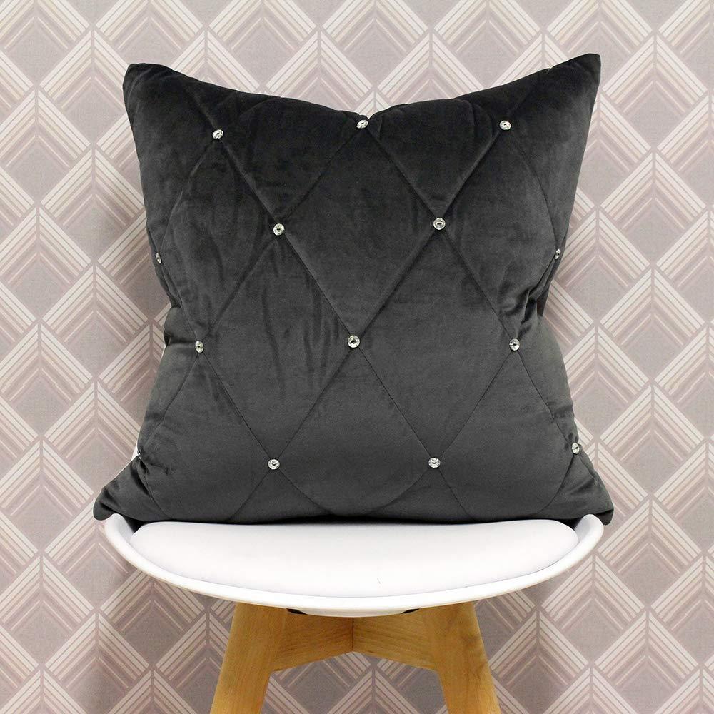 / Peltro Poliestere 45,7/x 45,7/cm Inches /Progettato nel Regno Unito 45/x 45/cm Riva Paoletti Nuovo Cuscino Grey-Diamante Crystal Sequins-Quilted Geometrico Design-Hidden Zip closure-100/%