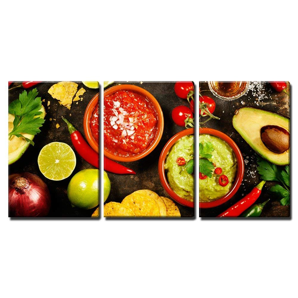 "wall26 3 Piece Canvas Wall Art - Mexican Food: Tortilla Chips, Guacamole, Salsa, Tequila Shots - Home Decor Stretched and Framed Ready to Hang - 16""x24"" in"