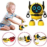 JJRC R7 Novelty Game Toy Spinning Top Robot Battle Gyro Pull Back Car Spinning in Wind Up Gyro Toy for Kids Boys Girls Gifts (Yellow)