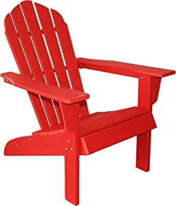 ResinTEAK HDPE Poly Lumber Adirondack Chair, Red   Adult-Size, Weather Resistant for Patio Deck Garden, Backyard & Lawn Furniture   Easy Maintenance & Classic Adirondack Chair Design