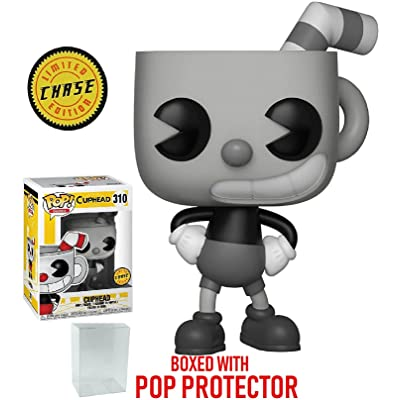 Funko Pop! Games: Cuphead - Cuphead Black and White Chase Variant Limited Edition Vinyl Figure (Bundled with Pop Box Protector Case): Toys & Games