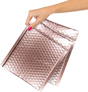 Pack of 25 Rose Gold Bubble Mailers 6.5x9. Metallic Padded Envelopes 6 1/2 x 9. Light Pink Cushion Envelope. Peal and Seal. Self-Adhesive Shipping Bag for Mailing Packing Packaging. Wholesale Price.