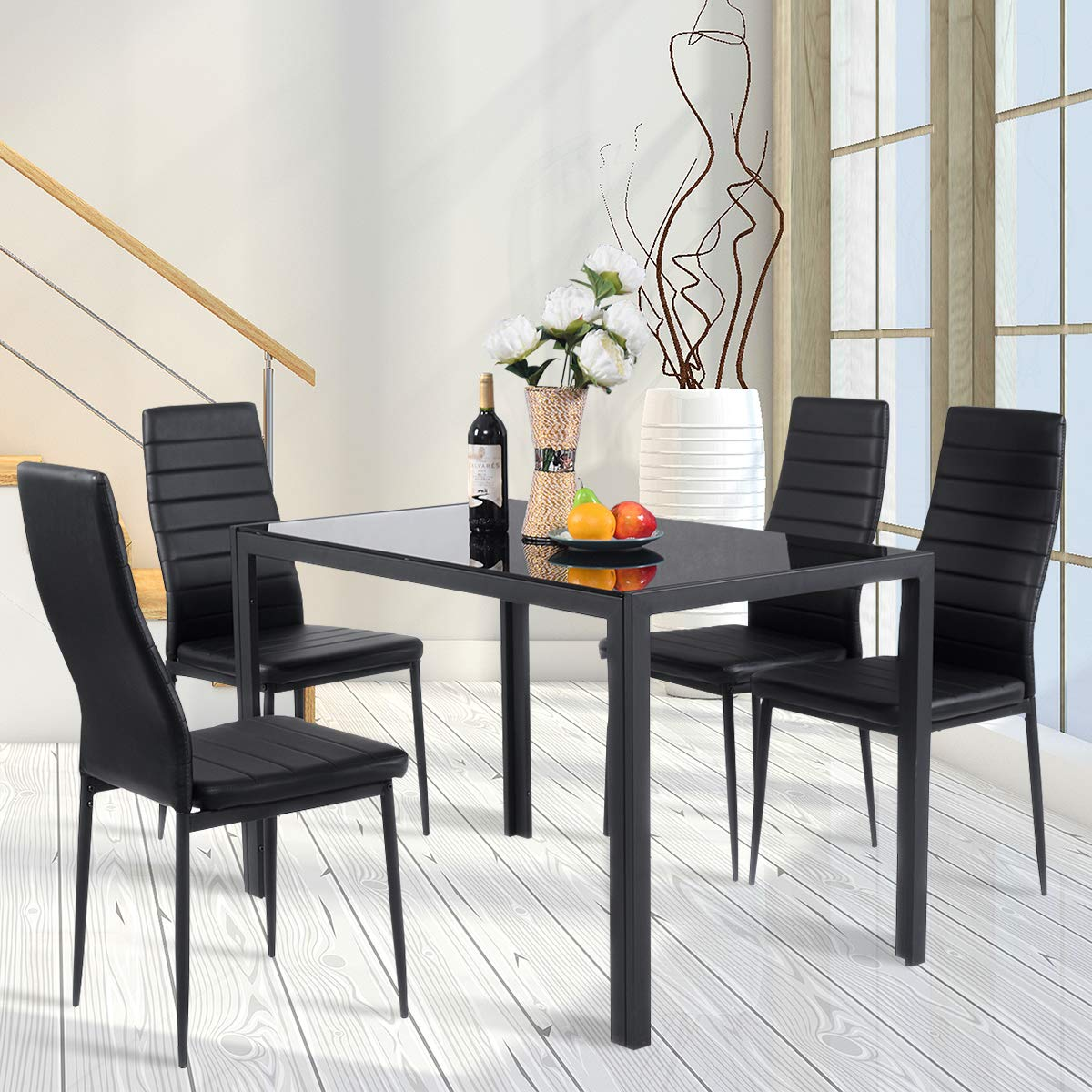 Amazon com giantex 5 piece kitchen dining table set with glass table top leather padded 4 chairs and metal frame table for breakfast dining room kitchen