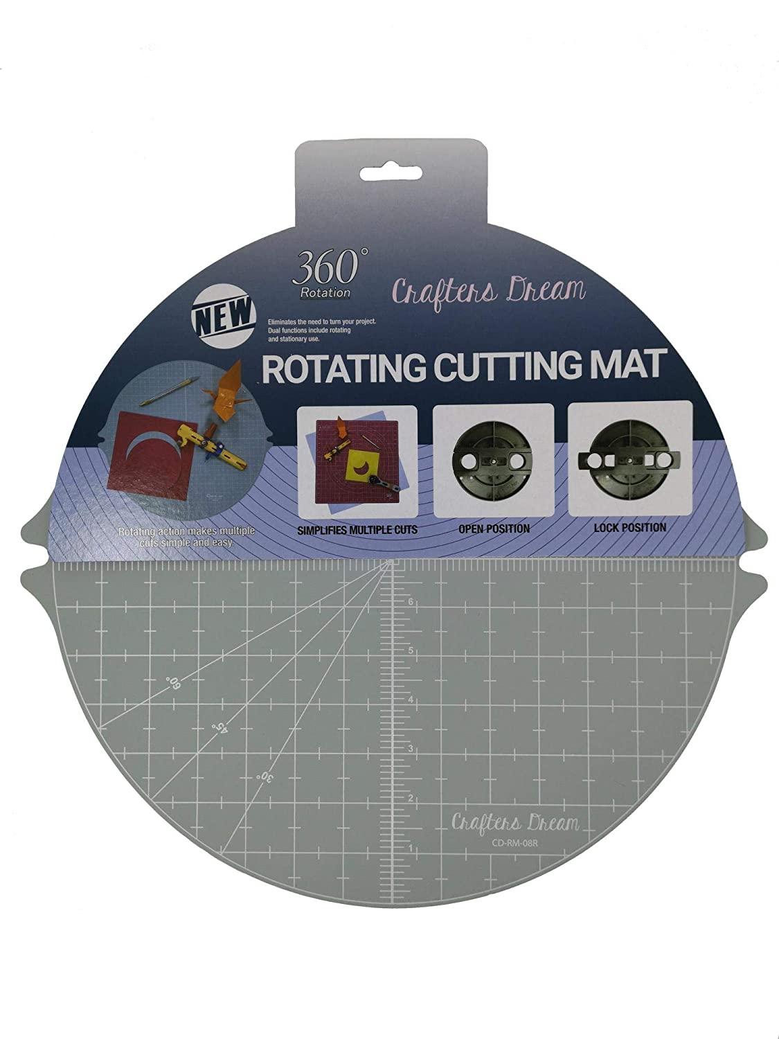 Crafters Dream Grey Self Healing Rotating Cutting Mat Round 14