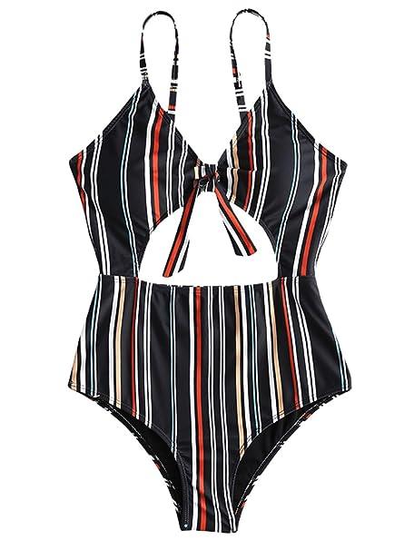 Amazon.com: ZAFUL traje de baño de una pieza con correas de ...