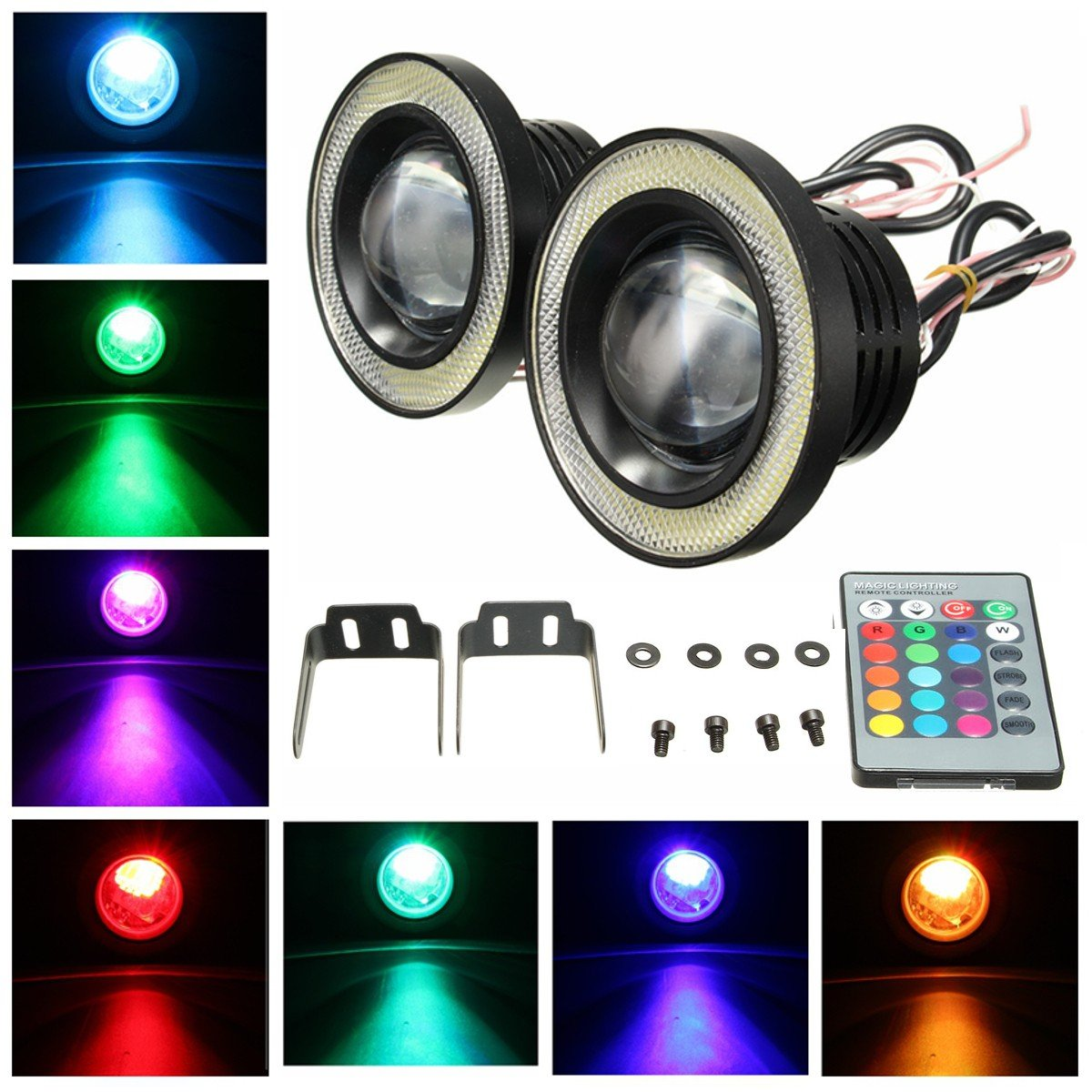 WCHAOEN Wireless Control 3.5inch LED RGB Color Fog Lights White Angel Eye Rings Car Lights New car light