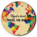 Read A Book Travel The World Fridge Magnet by Seven Rays, Dimensions - 3 X 3 Inches, Round