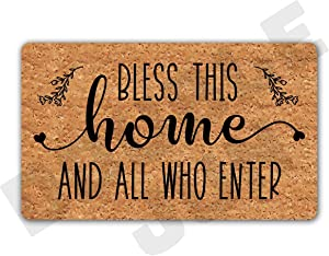 YZCZ DoubleJun Bless This Home All Who Enter Funny Entrance Mat Floor Rug Indoor/Outdoor/Front Door Mats Home Decor Machine Washable Rubber Non Slip Backing 29.5