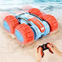 Amphibious Remote Control Car for Kids, Fixget 2.4GHz Waterproof Off Road Truck Toys, 4WD Electric Double Sides RC Stunt…