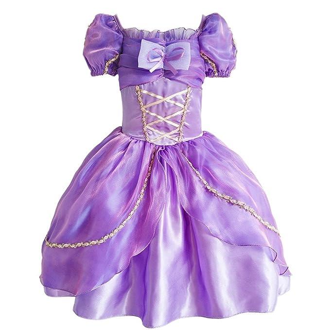 GenialES Disfraz Princesa Vestido Lila para Niñas Cumpleaños Carnaval Fiesta Cosplay Halloween Talla 110