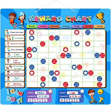 Amazon Com Ibasetoy Reward Chart Magnetic Refrigerator Chore Chart For Two Kids Encourage Good Behaviour And Responsibility Star Chart For Boys And Girls 15 X 13 Inch Office Products