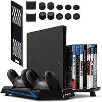 Younik PS4/PS4 Slim verticale standaard met ingebouwde ventilator, dual controller laadstation, 14 sleuven voor…