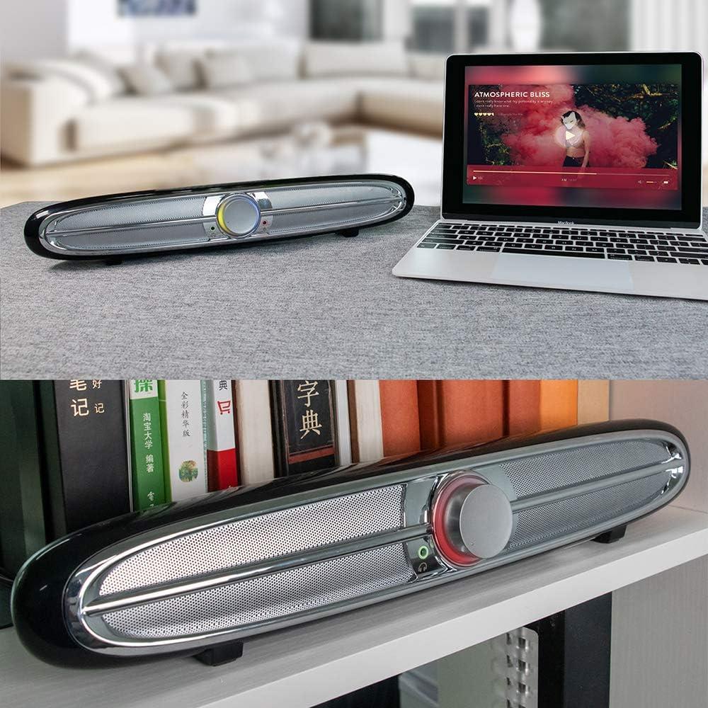 Lepeuxi Altoparlanti soundbar alimentati Tramite USB Smalody Box Audio cablato da 3,5 mm Subwoofer da 10 W con Jack per Cuffie per Microfono per Computer Desktop TV