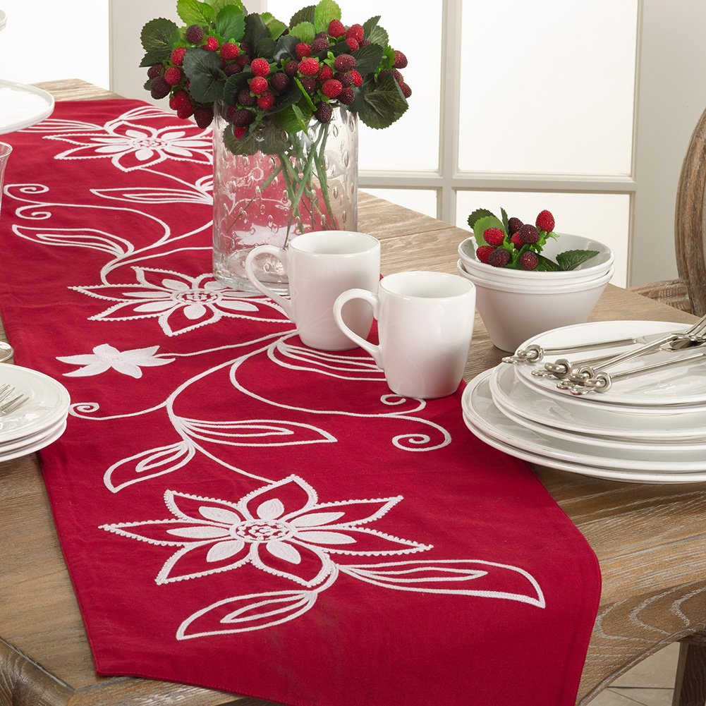 White Embroidered Flower Red Cotton Christmas Table Runner | ChristmasTablescapeDecor.com