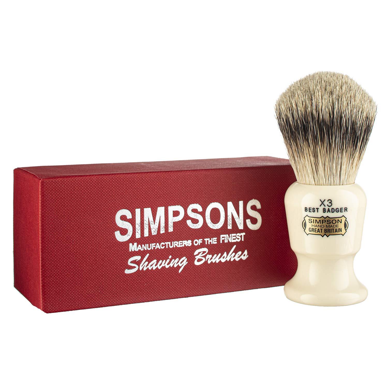 Commodore Best Badger Brush- Simpson Shaving Brushes - Faux Ivory Handle (X3 Best)