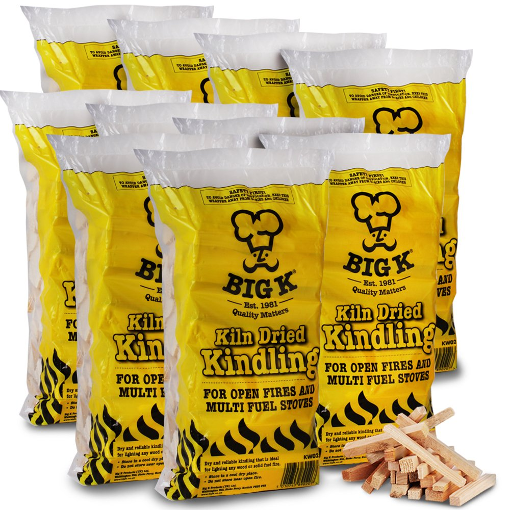 The Chemical Hut® 1 Bag of QUALITY KILN DRIED Kindling Wood Fire Starting Logs Open Fires Stoves BBQ Ovens - Comes with THE LOG HUT® White Woven Sack, ideal to store wood, logs, kindling etc.
