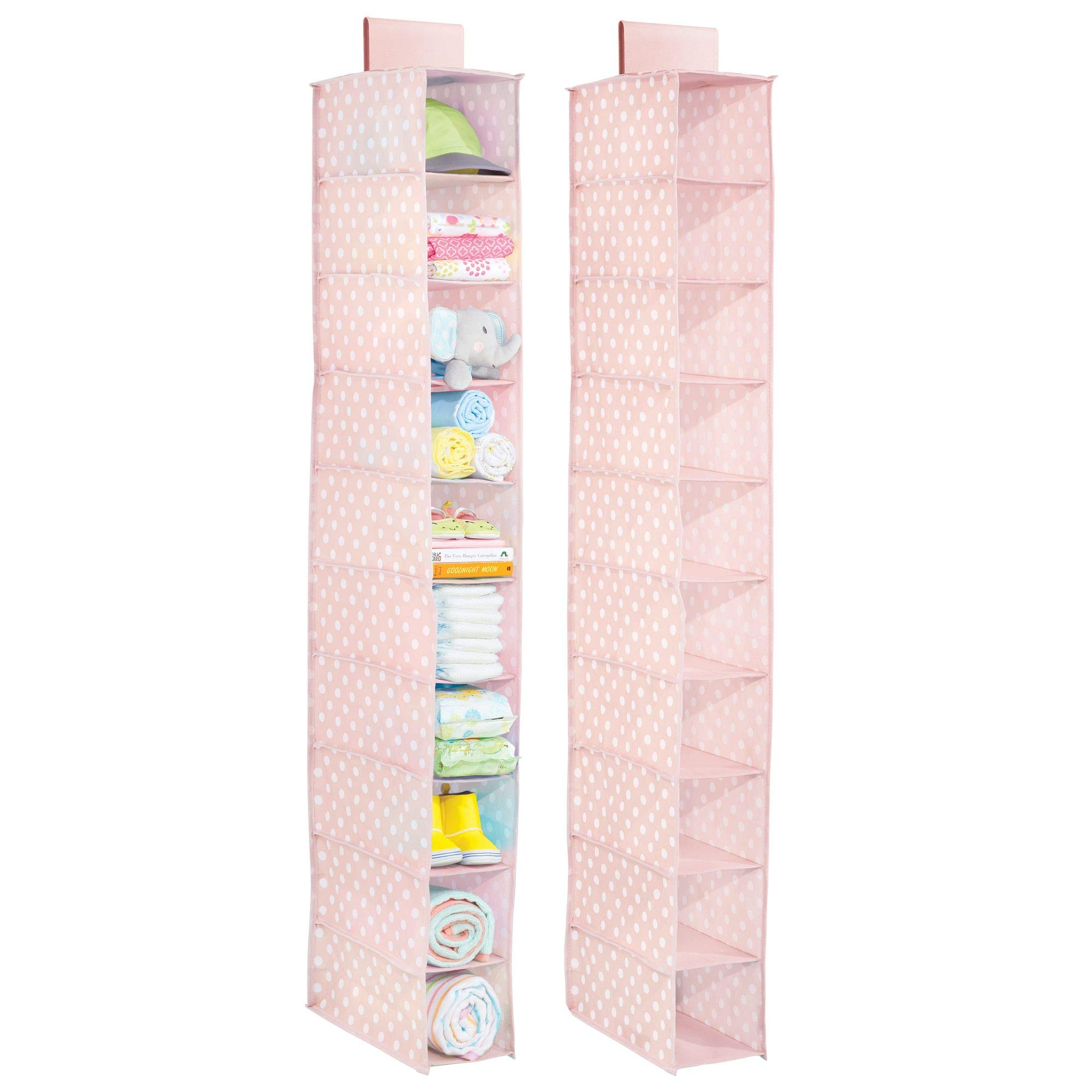 mDesign Soft Fabric Over Closet Rod Hanging Storage Organizer with 10 Shelves for Child/Kids Room or Nursery - Pack of 2, Polka Dot Pattern, Light Pink with White Dots by mDesign